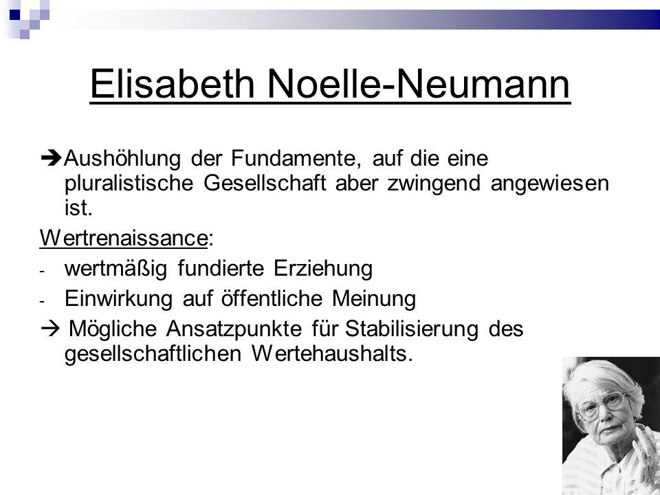 Elisabeth Noelle-Neumann Aushöhlung der Fundamente, auf die eine pluralistische Gesellschaft aber zwingend angewiesen ist.