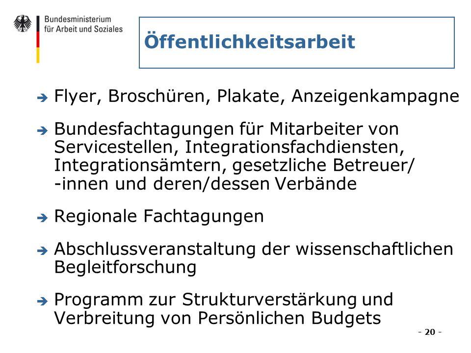Öffentlichkeitsarbeit è Flyer, Broschüren, Plakate, Anzeigenkampagne è Bundesfachtagungen für Mitarbeiter von Servicestellen, Integrationsfachdiensten