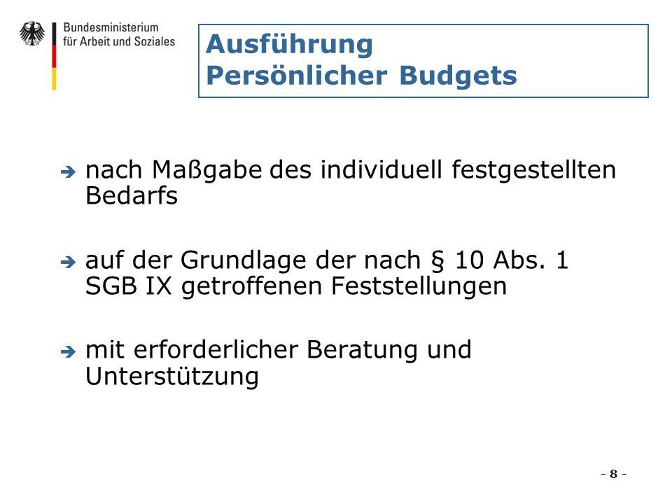 Ausführung Persönlicher Budgets è nach Maßgabe des individuell festgestellten Bedarfs è auf der Grundlage der nach § 10 Abs. 1 SGB IX getroffenen Fest