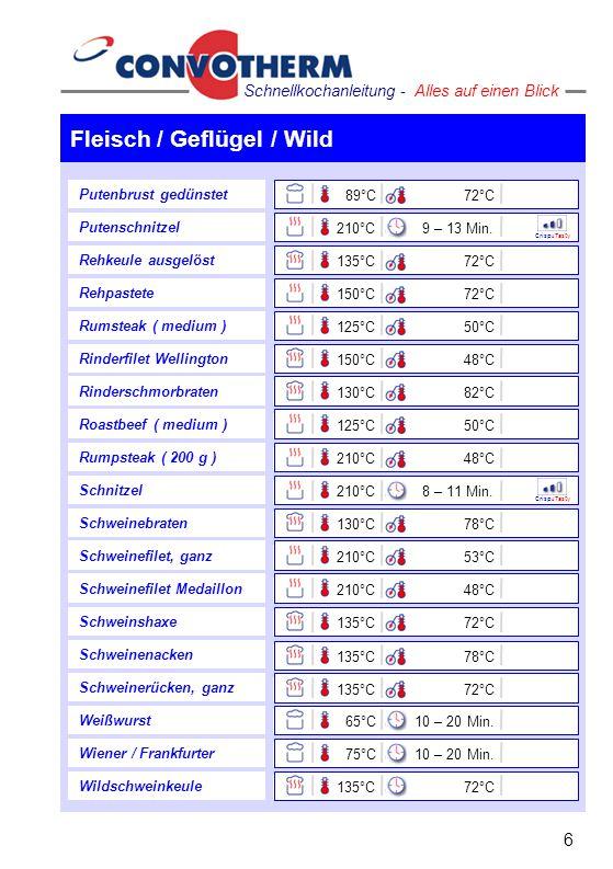 Fleisch / Geflügel / Wild 6 Schnellkochanleitung - Alles auf einen Blick Schweinshaxe Schweinenacken Schweinerücken, ganz Weißwurst Wiener / Frankfurt