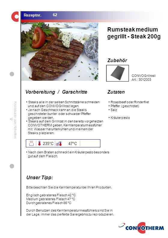 Foto (5,16 cm x 6,8 cm) ZutatenVorbereitung / Garschritte Zubehör Foto (1,44 cm x 1,98 cm) Rezeptnr. Knickkante zum Abheften Steaks alle in der selben