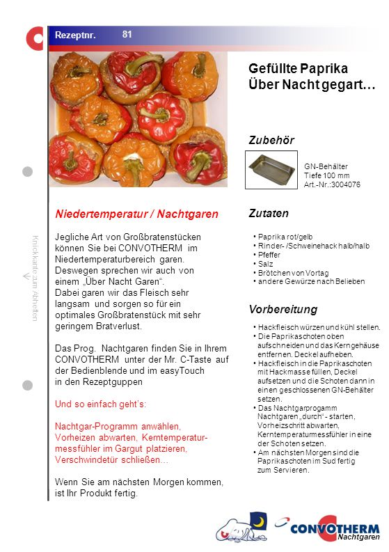 Foto (5,16 cm x 6,8 cm) ZutatenVorbereitung / Garschritte Zubehör Foto (1,44 cm x 1,98 cm) Rezeptnr. Knickkante zum Abheften Paprika rot/gelb Rinder-