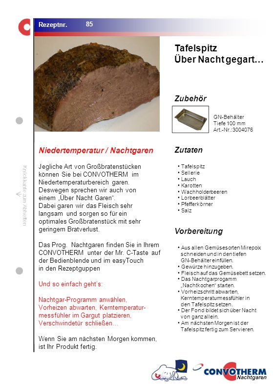 Foto (5,16 cm x 6,8 cm) ZutatenVorbereitung / Garschritte Zubehör Foto (1,44 cm x 1,98 cm) Rezeptnr. Knickkante zum Abheften GN-Behälter Tiefe 100 mm