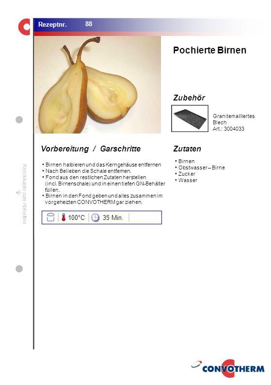 Foto (5,16 cm x 6,8 cm) ZutatenVorbereitung / Garschritte Zubehör Foto (1,44 cm x 1,98 cm) Rezeptnr. Knickkante zum Abheften Birnen Obstwasser – Birne