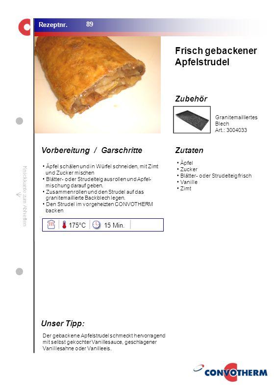 Foto (5,16 cm x 6,8 cm) ZutatenVorbereitung / Garschritte Zubehör Foto (1,44 cm x 1,98 cm) Rezeptnr. Knickkante zum Abheften Äpfel Zucker Blätter- ode