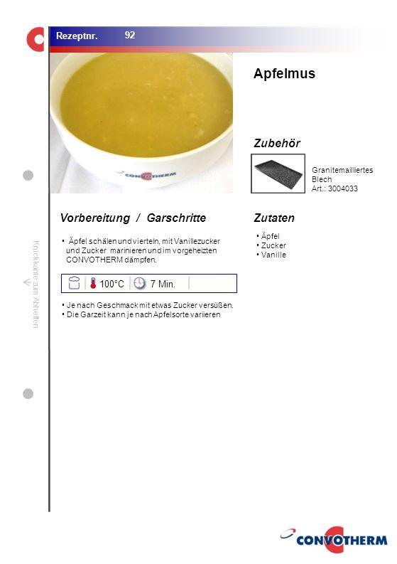 Foto (5,16 cm x 6,8 cm) ZutatenVorbereitung / Garschritte Zubehör Foto (1,44 cm x 1,98 cm) Rezeptnr. Knickkante zum Abheften Äpfel Zucker Vanille Apfe
