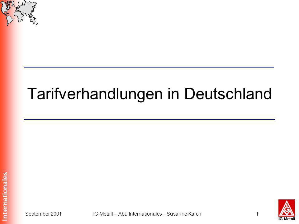 Internationales September 2001IG Metall – Abt. Internationales – Susanne Karch1 Tarifverhandlungen in Deutschland