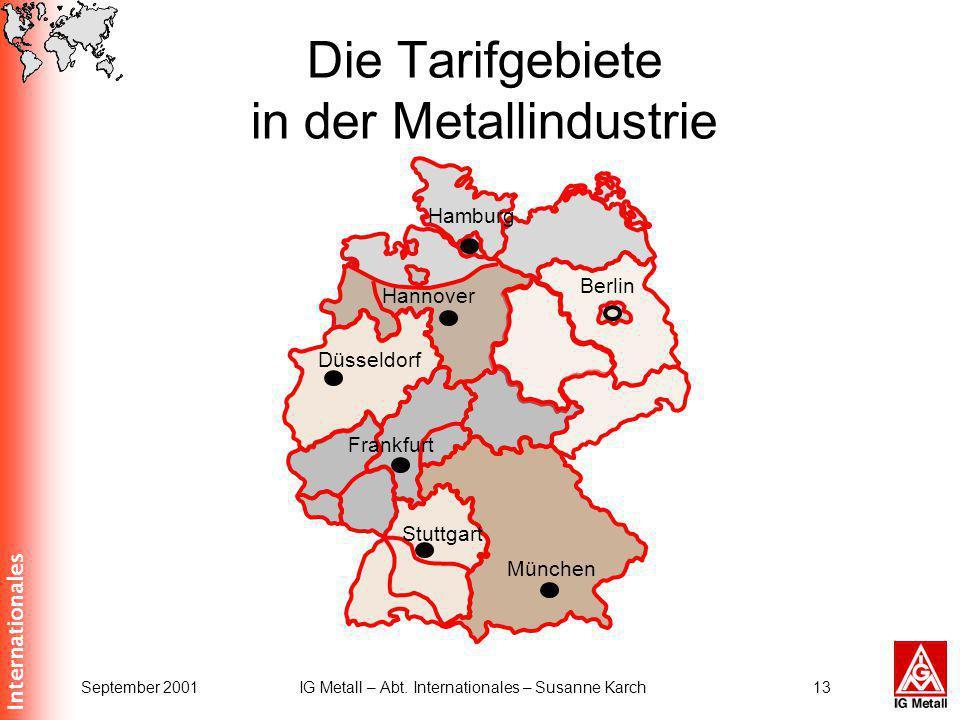 Internationales September 2001IG Metall – Abt. Internationales – Susanne Karch13 München Düsseldorf Hamburg Berlin Hannover Stuttgart Frankfurt Die Ta
