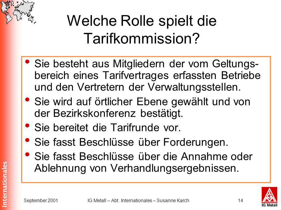 Internationales September 2001IG Metall – Abt. Internationales – Susanne Karch14 Welche Rolle spielt die Tarifkommission? Sie besteht aus Mitgliedern