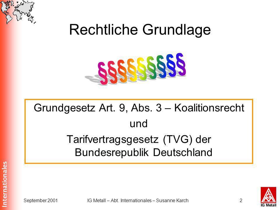Internationales September 2001IG Metall – Abt. Internationales – Susanne Karch2 Rechtliche Grundlage Grundgesetz Art. 9, Abs. 3 – Koalitionsrecht und