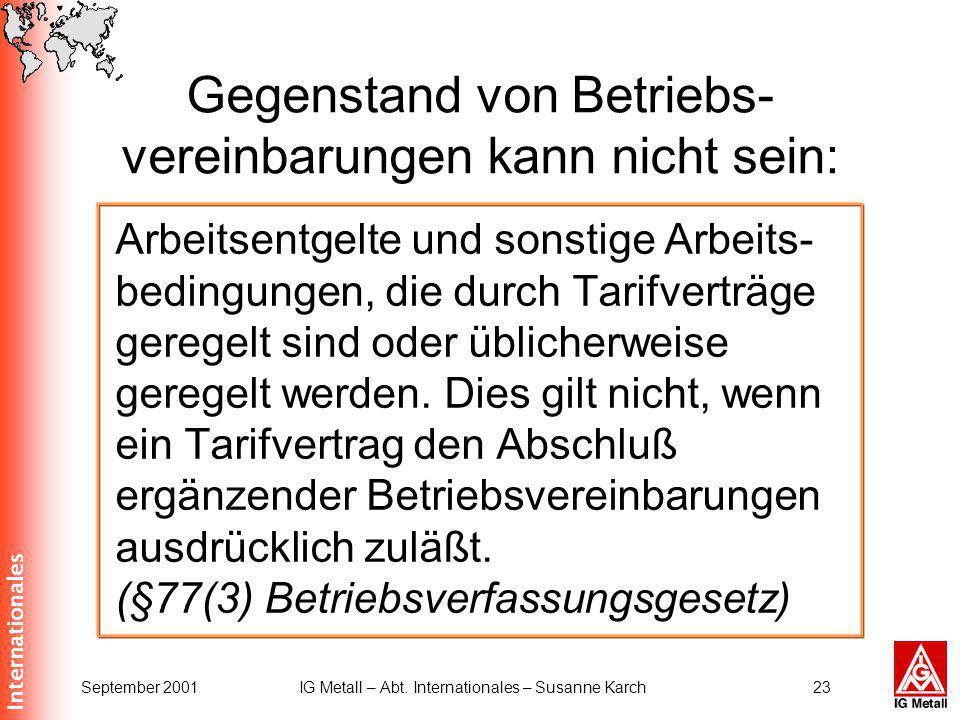 Internationales September 2001IG Metall – Abt. Internationales – Susanne Karch23 Gegenstand von Betriebs- vereinbarungen kann nicht sein: Arbeitsentge