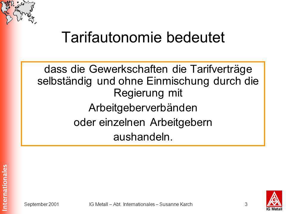 Internationales September 2001IG Metall – Abt. Internationales – Susanne Karch3 Tarifautonomie bedeutet dass die Gewerkschaften die Tarifverträge selb