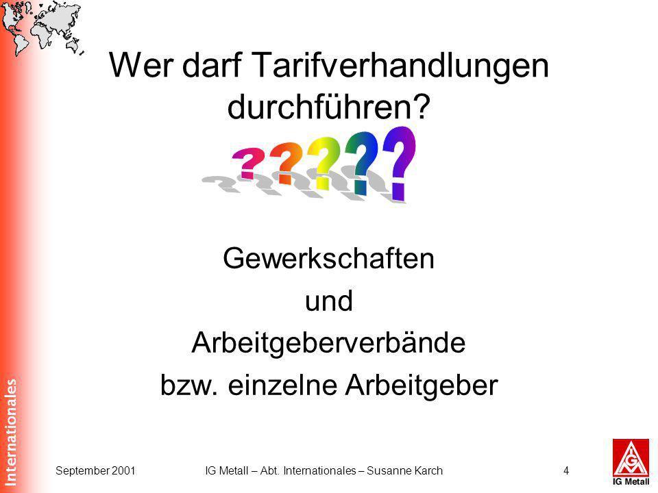 Internationales September 2001IG Metall – Abt. Internationales – Susanne Karch4 Wer darf Tarifverhandlungen durchführen? Gewerkschaften und Arbeitgebe