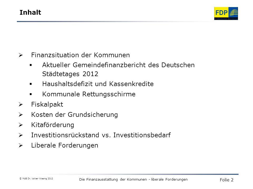 Die Finanzausstattung der Kommunen - liberale Forderungen Bund stellt bis 2013 4 Mrd.