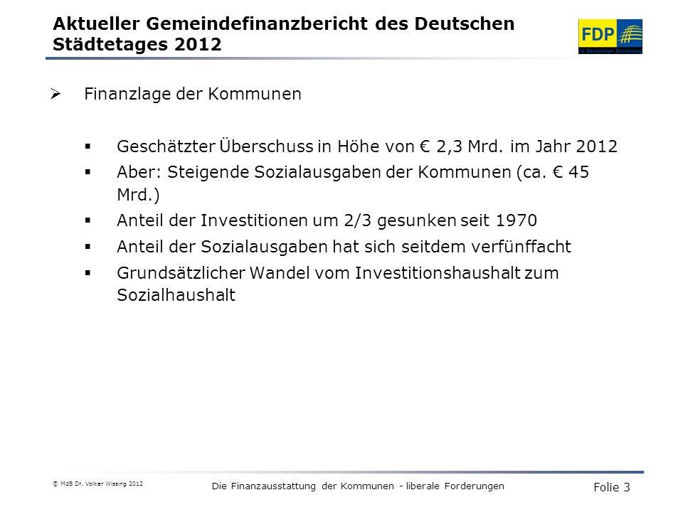 Die Finanzausstattung der Kommunen - liberale Forderungen Finanzlage der Kommunen Geschätzter Überschuss in Höhe von 2,3 Mrd.