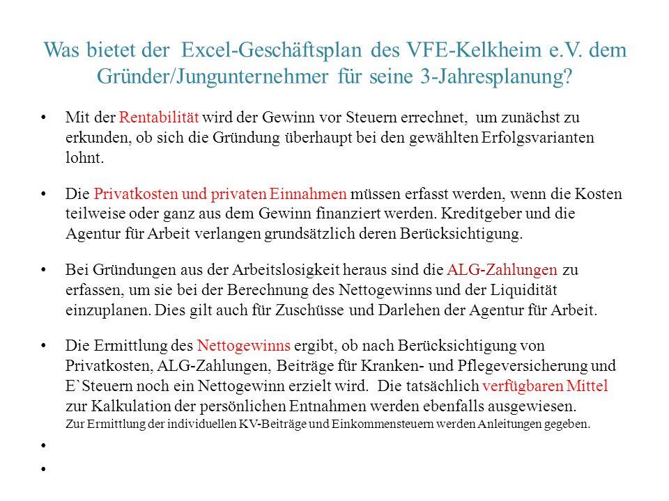 Was bietet der Excel-Geschäftsplan des VFE-Kelkheim e.V. dem Gründer/Jungunternehmer für seine 3-Jahresplanung? Mit der Rentabilität wird der Gewinn v
