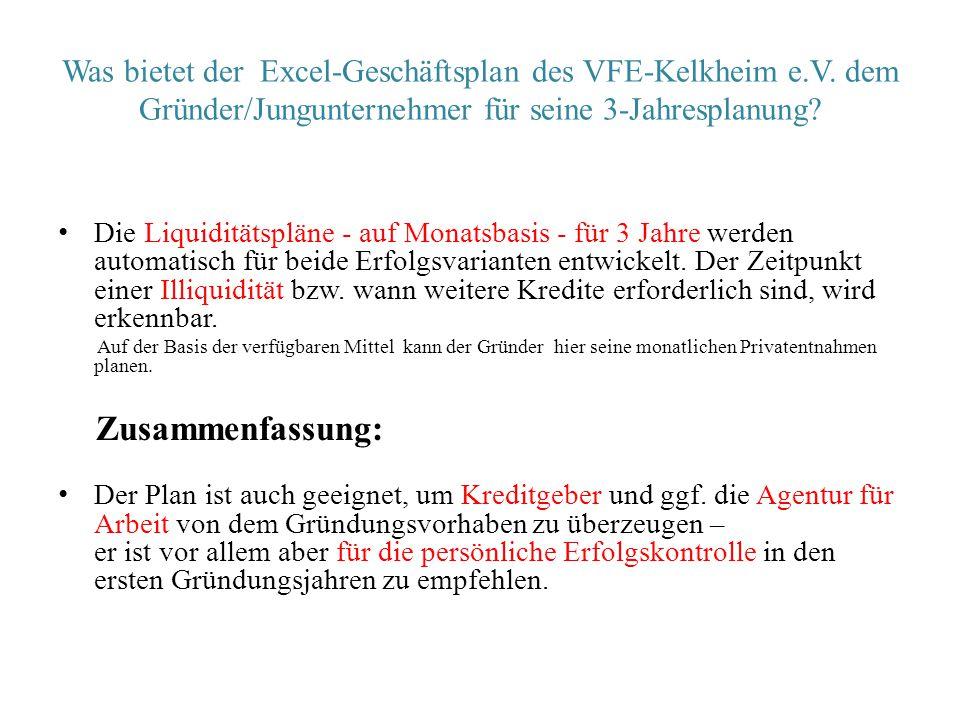 Was bietet der Excel-Geschäftsplan des VFE-Kelkheim e.V. dem Gründer/Jungunternehmer für seine 3-Jahresplanung? Die Liquiditätspläne - auf Monatsbasis