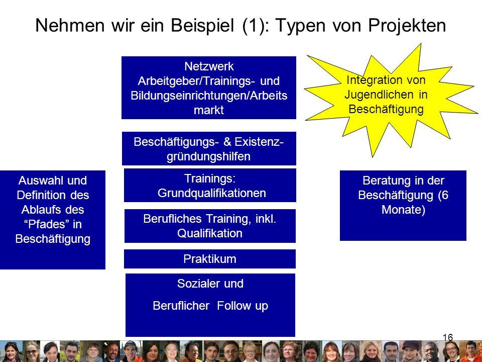 16 Nehmen wir ein Beispiel (1): Typen von Projekten Auswahl und Definition des Ablaufs des Pfades in Beschäftigung Sozialer und Beruflicher Follow up Integration von Jugendlichen in Beschäftigung Berufliches Training, inkl.