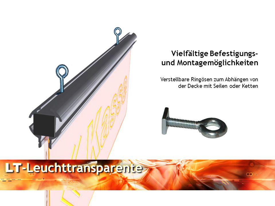 Vielfältige Befestigungs- und Montagemöglichkeiten Verstellbare Ringösen zum Abhängen von der Decke mit Seilen oder Ketten