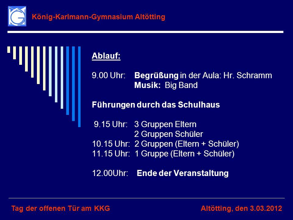 König-Karlmann-Gymnasium Altötting Tag der offenen Tür am KKGAltötting, den 3.03.2012 Ablauf: 9.00 Uhr: Begrüßung in der Aula: Hr. Schramm Musik: Big