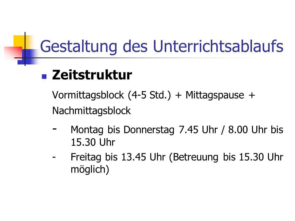 Gestaltung des Unterrichtsablaufs Zeitstruktur Vormittagsblock (4-5 Std.) + Mittagspause + Nachmittagsblock - Montag bis Donnerstag 7.45 Uhr / 8.00 Uh