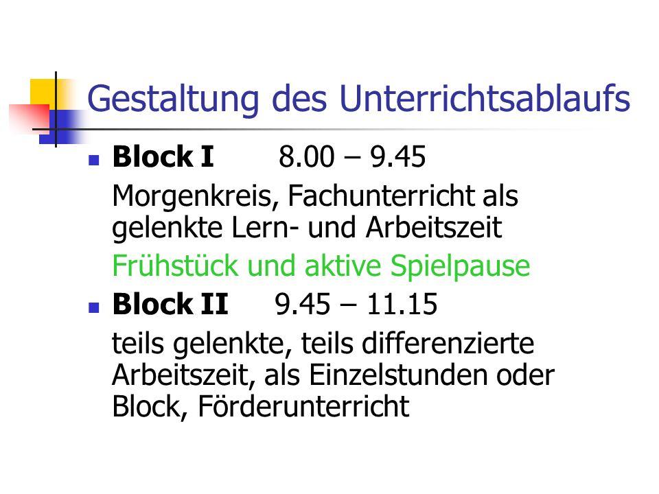 Gestaltung des Unterrichtsablaufs Block I 8.00 – 9.45 Morgenkreis, Fachunterricht als gelenkte Lern- und Arbeitszeit Frühstück und aktive Spielpause B