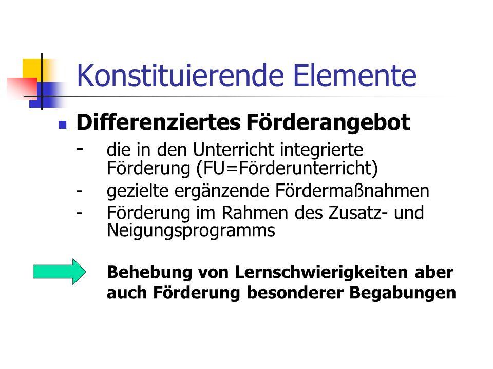 Konstituierende Elemente Differenziertes Förderangebot - die in den Unterricht integrierte Förderung (FU=Förderunterricht) -gezielte ergänzende Förder