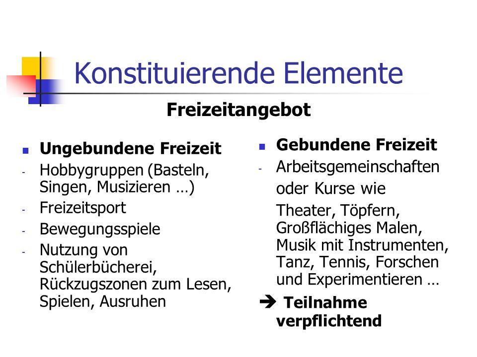 Konstituierende Elemente Ungebundene Freizeit - Hobbygruppen (Basteln, Singen, Musizieren …) - Freizeitsport - Bewegungsspiele - Nutzung von Schülerbü