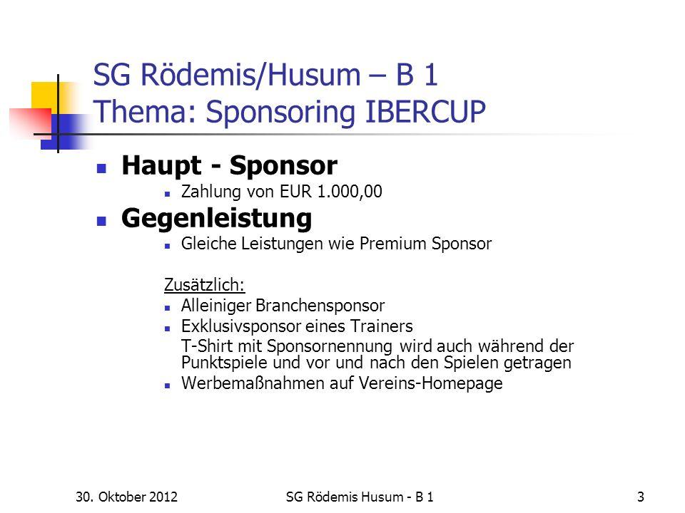 30. Oktober 2012SG Rödemis Husum - B 13 SG Rödemis/Husum – B 1 Thema: Sponsoring IBERCUP Haupt - Sponsor Zahlung von EUR 1.000,00 Gegenleistung Gleich