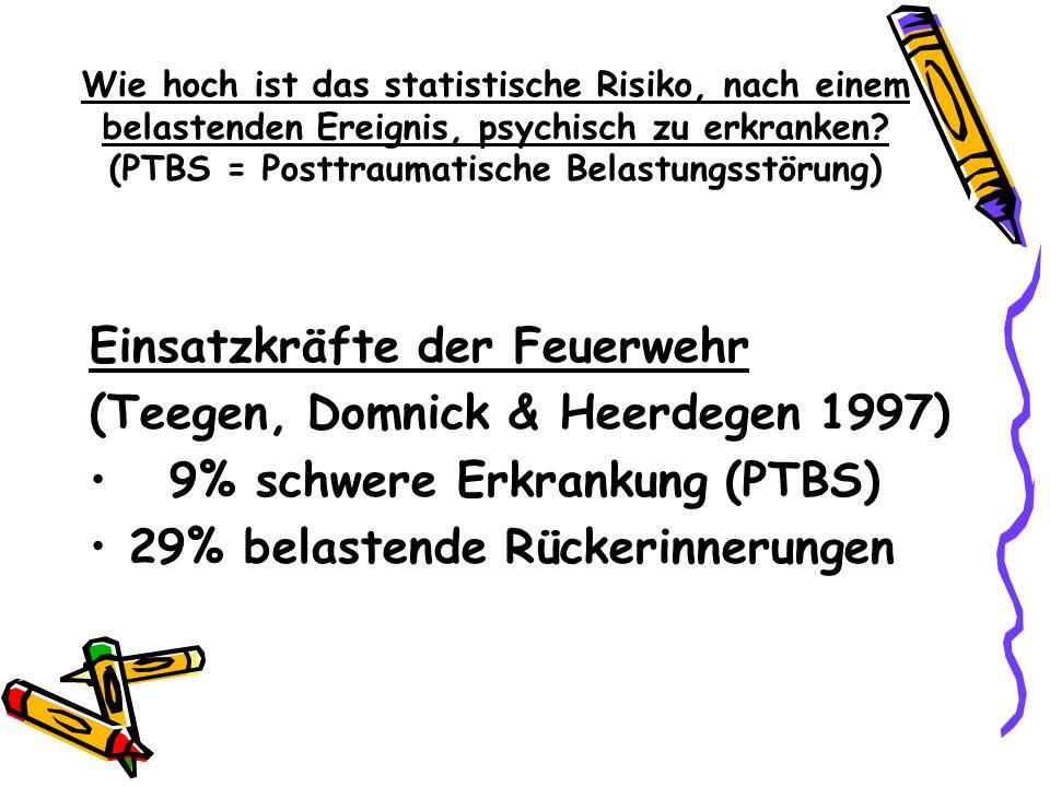 Wie hoch ist das statistische Risiko, nach einem belastenden Ereignis, psychisch zu erkranken? (PTBS = Posttraumatische Belastungsstörung) Einsatzkräf