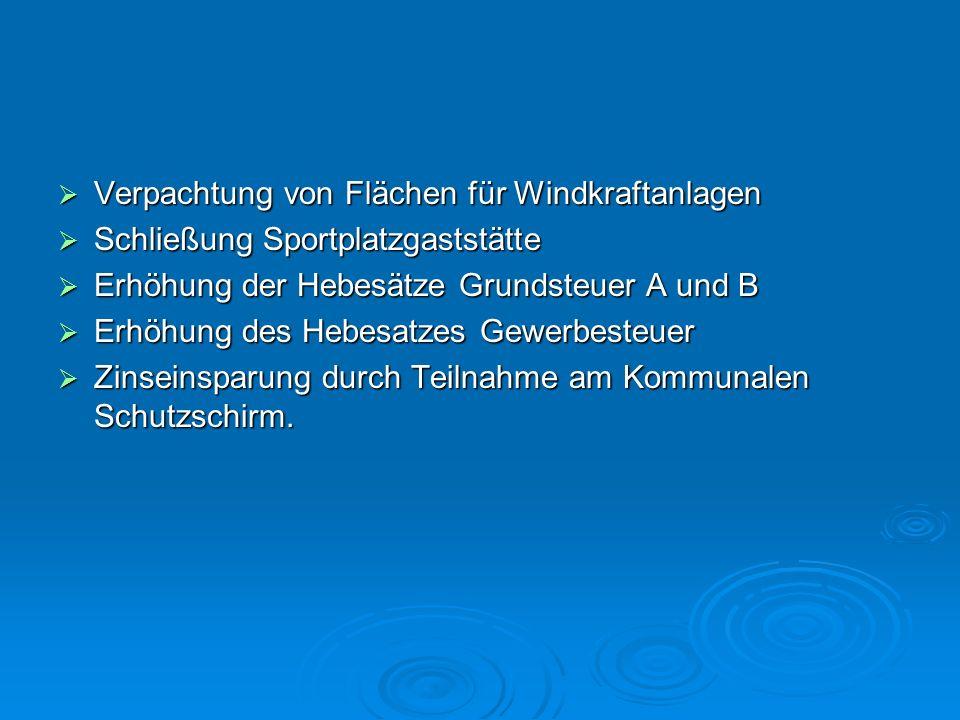 Verpachtung von Flächen für Windkraftanlagen Verpachtung von Flächen für Windkraftanlagen Schließung Sportplatzgaststätte Schließung Sportplatzgaststä