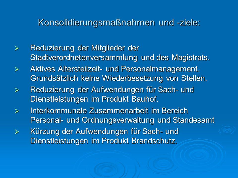 Konsolidierungsmaßnahmen und -ziele: Reduzierung der Mitglieder der Stadtverordnetenversammlung und des Magistrats. Reduzierung der Mitglieder der Sta