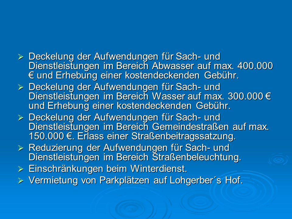 Deckelung der Aufwendungen für Sach- und Dienstleistungen im Bereich Abwasser auf max. 400.000 und Erhebung einer kostendeckenden Gebühr. Deckelung de