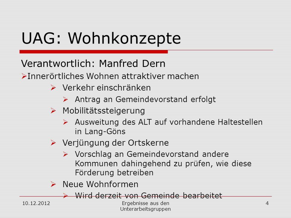 10.12.2012Ergebnisse aus den Unterarbeitsgruppen 4 UAG: Wohnkonzepte Verantwortlich: Manfred Dern Innerörtliches Wohnen attraktiver machen Verkehr ein