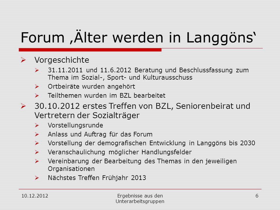 Forum Älter werden in Langgöns Vorgeschichte 31.11.2011 und 11.6.2012 Beratung und Beschlussfassung zum Thema im Sozial-, Sport- und Kulturausschuss O