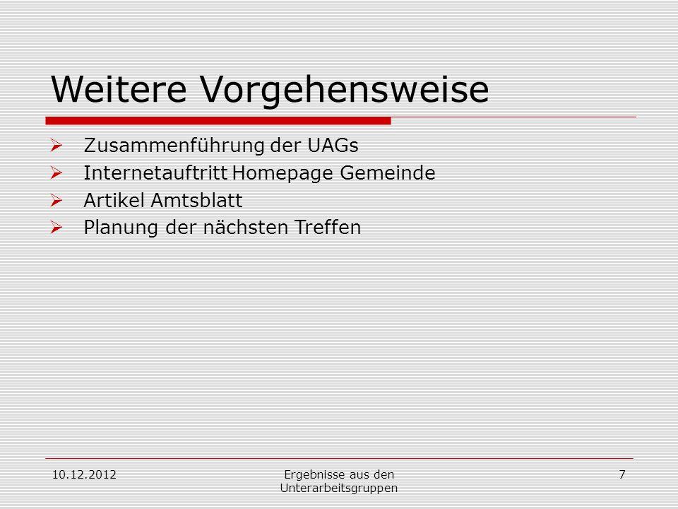 Weitere Vorgehensweise Zusammenführung der UAGs Internetauftritt Homepage Gemeinde Artikel Amtsblatt Planung der nächsten Treffen 10.12.2012Ergebnisse