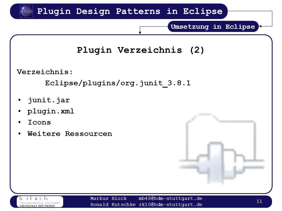 Plugin Design Patterns in Eclipse Markus Block mb48@hdm-stuttgart.de Ronald Kutschke rk10@hdm-stuttgart.de 11 Plugin Verzeichnis (2) Verzeichnis: Ecli