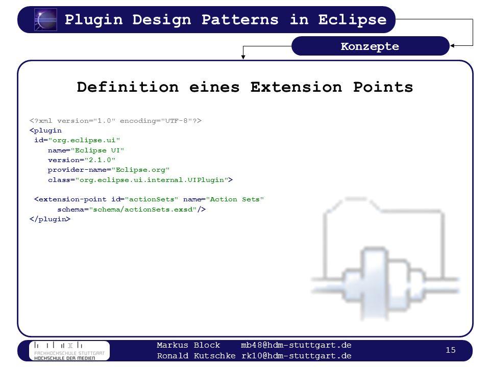 Plugin Design Patterns in Eclipse Markus Block mb48@hdm-stuttgart.de Ronald Kutschke rk10@hdm-stuttgart.de 15 Definition eines Extension Points <plugi