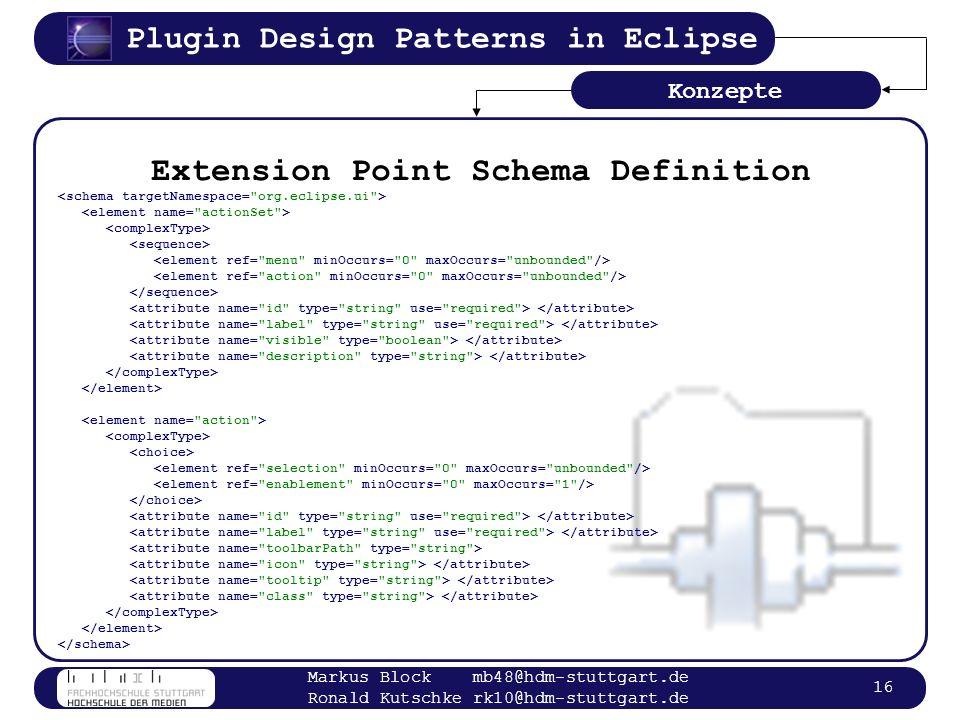 Plugin Design Patterns in Eclipse Markus Block mb48@hdm-stuttgart.de Ronald Kutschke rk10@hdm-stuttgart.de 16 Extension Point Schema Definition Konzep