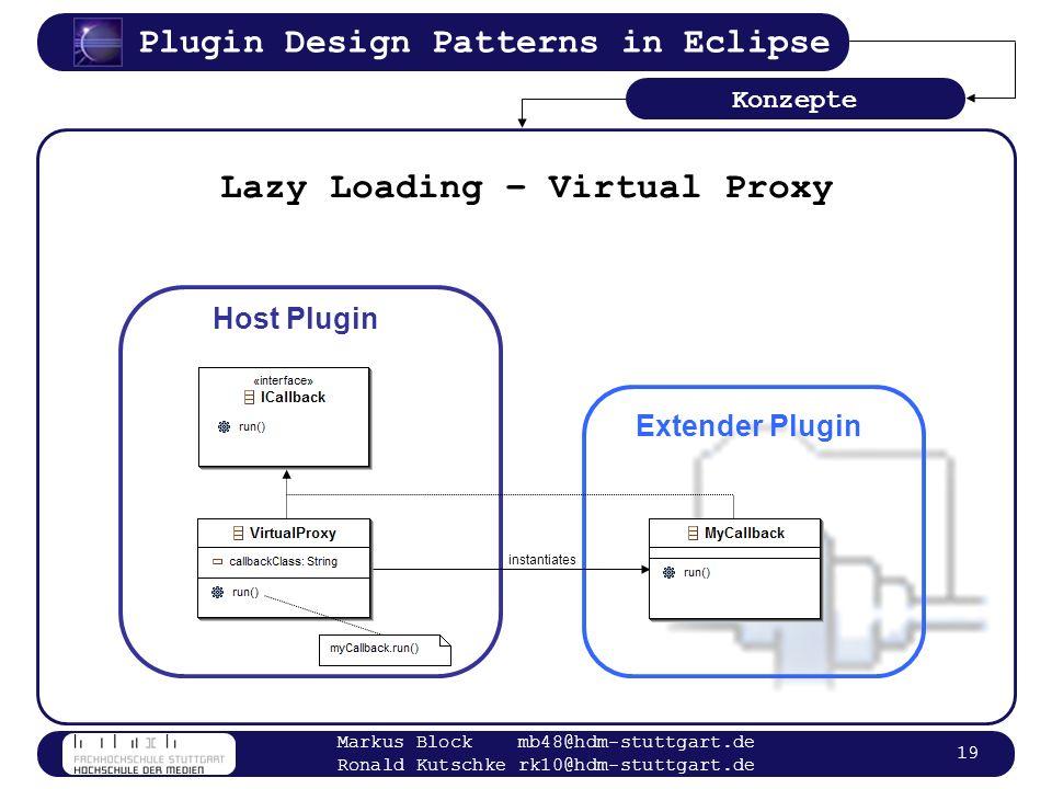 Plugin Design Patterns in Eclipse Markus Block mb48@hdm-stuttgart.de Ronald Kutschke rk10@hdm-stuttgart.de 19 Lazy Loading – Virtual Proxy Konzepte Ho