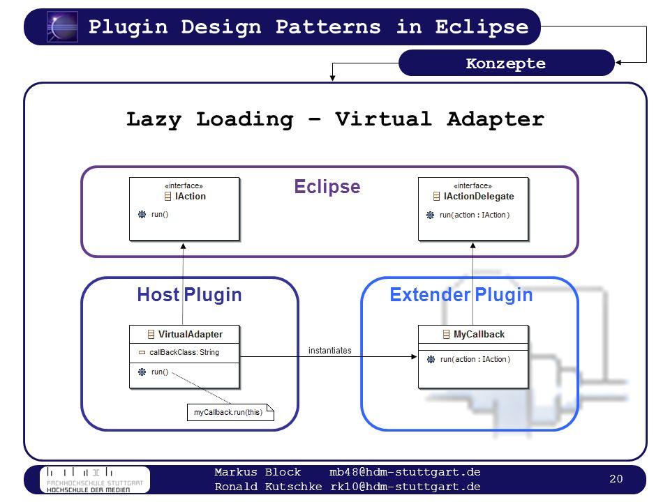 Plugin Design Patterns in Eclipse Markus Block mb48@hdm-stuttgart.de Ronald Kutschke rk10@hdm-stuttgart.de 20 Lazy Loading – Virtual Adapter Konzepte