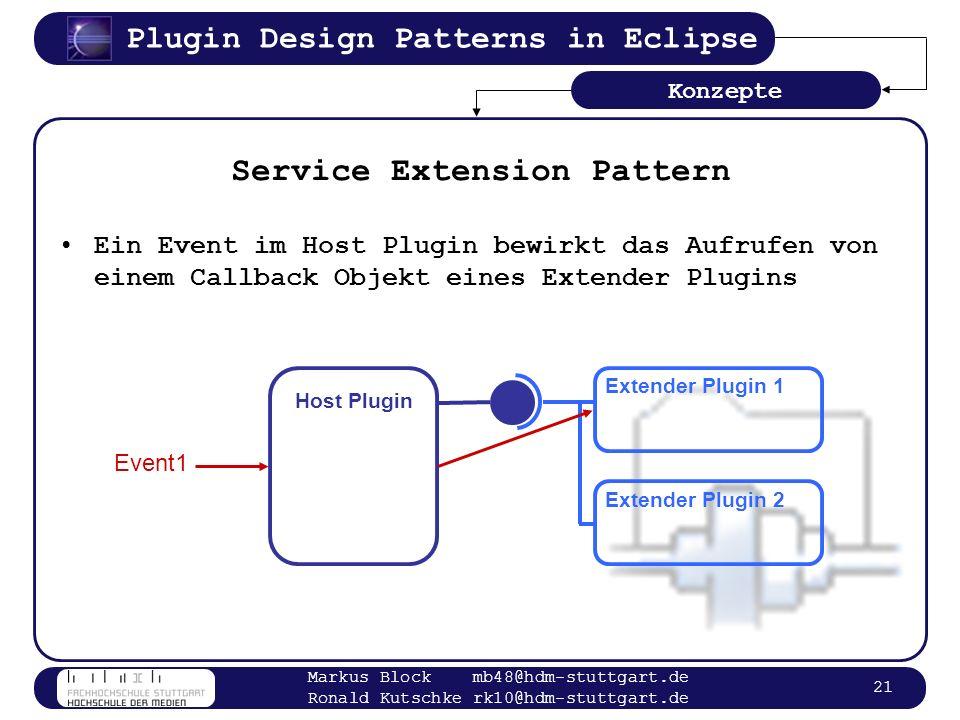 Plugin Design Patterns in Eclipse Markus Block mb48@hdm-stuttgart.de Ronald Kutschke rk10@hdm-stuttgart.de 21 Service Extension Pattern Ein Event im H