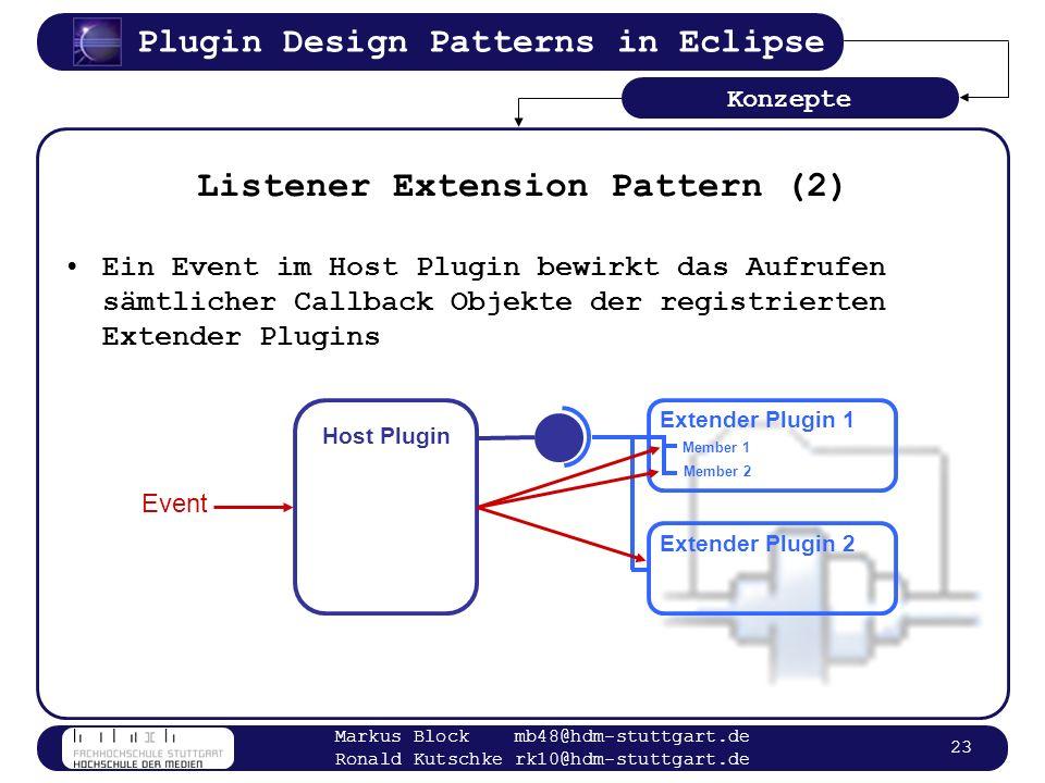 Plugin Design Patterns in Eclipse Markus Block mb48@hdm-stuttgart.de Ronald Kutschke rk10@hdm-stuttgart.de 23 Listener Extension Pattern (2) Konzepte
