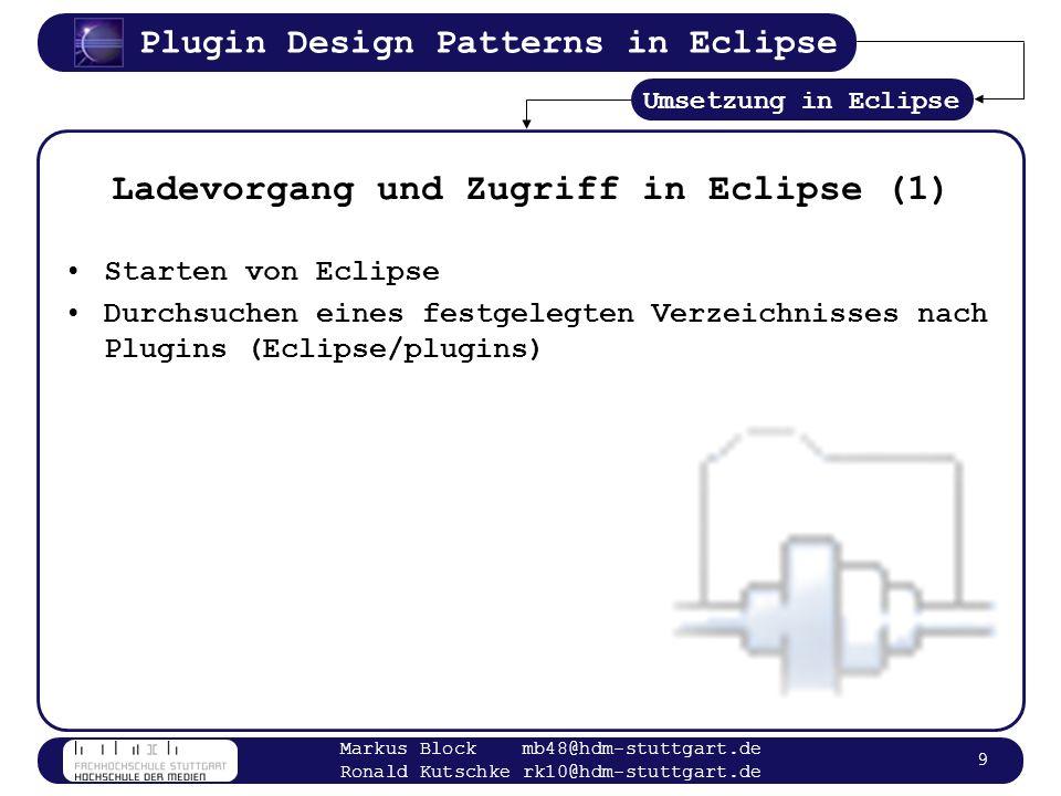 Plugin Design Patterns in Eclipse Markus Block mb48@hdm-stuttgart.de Ronald Kutschke rk10@hdm-stuttgart.de 10 Plugin Verzeichnis (1) ScreenShot Plugin Verzeichnis Umsetzung in Eclipse