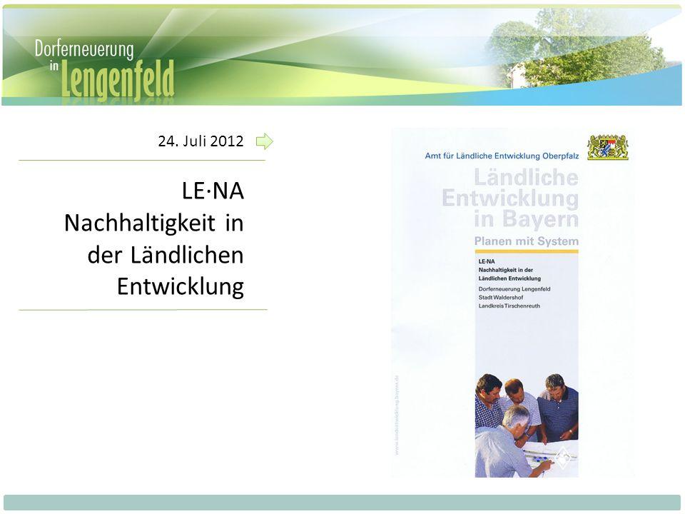 LE·NA Nachhaltigkeit in der Ländlichen Entwicklung Ökonomische Nachhaltigkeit Ökologische Nachhaltigkeit Soziale Nachhaltigkeit Dorferneuerung Wirtschaft Infrastruktur Landschaft Siedlung Soziales Kommunikation