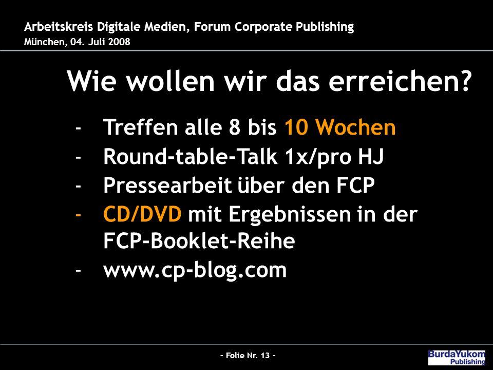 - Folie Nr. 13 - Jobs 2.0 - Der neue Hybrid-Redakteur bei Burda Wie wollen wir das erreichen.