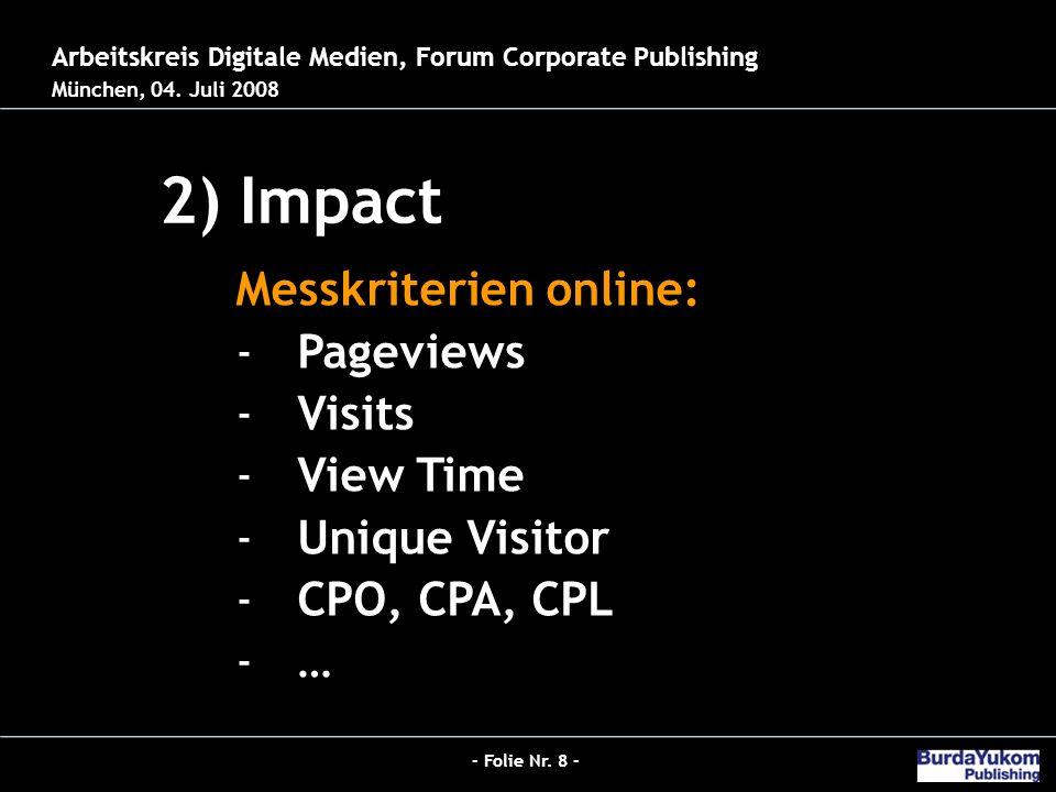 - Folie Nr. 8 - Jobs 2.0 - Der neue Hybrid-Redakteur bei Burda 2) Impact 26.03.2008 – Der digitale Publizist Arbeitskreis Digitale Medien, Forum Corpo