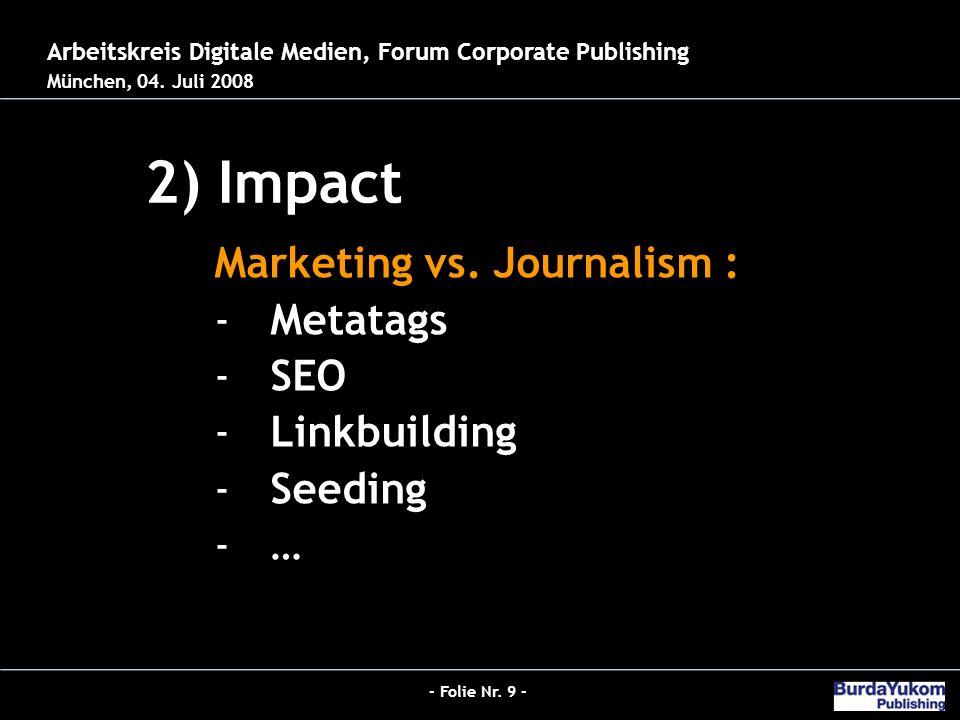 - Folie Nr. 9 - Jobs 2.0 - Der neue Hybrid-Redakteur bei Burda 2) Impact 26.03.2008 – Der digitale Publizist Arbeitskreis Digitale Medien, Forum Corpo