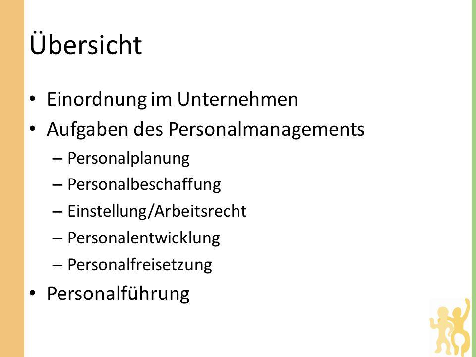 Übersicht Einordnung im Unternehmen Aufgaben des Personalmanagements – Personalplanung – Personalbeschaffung – Einstellung/Arbeitsrecht – Personalentwicklung – Personalfreisetzung Personalführung