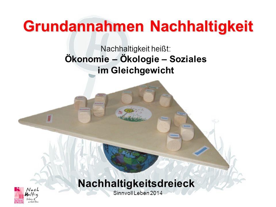 Grundannahmen Nachhaltigkeit Nachhaltigkeitsdreieck Sinnvoll Leben 2014 Nachhaltigkeit heißt: Ökonomie – Ökologie – Soziales im Gleichgewicht